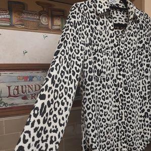 Express Tops - EXPRESS | Long Sleeve Cheetah Print Blouse